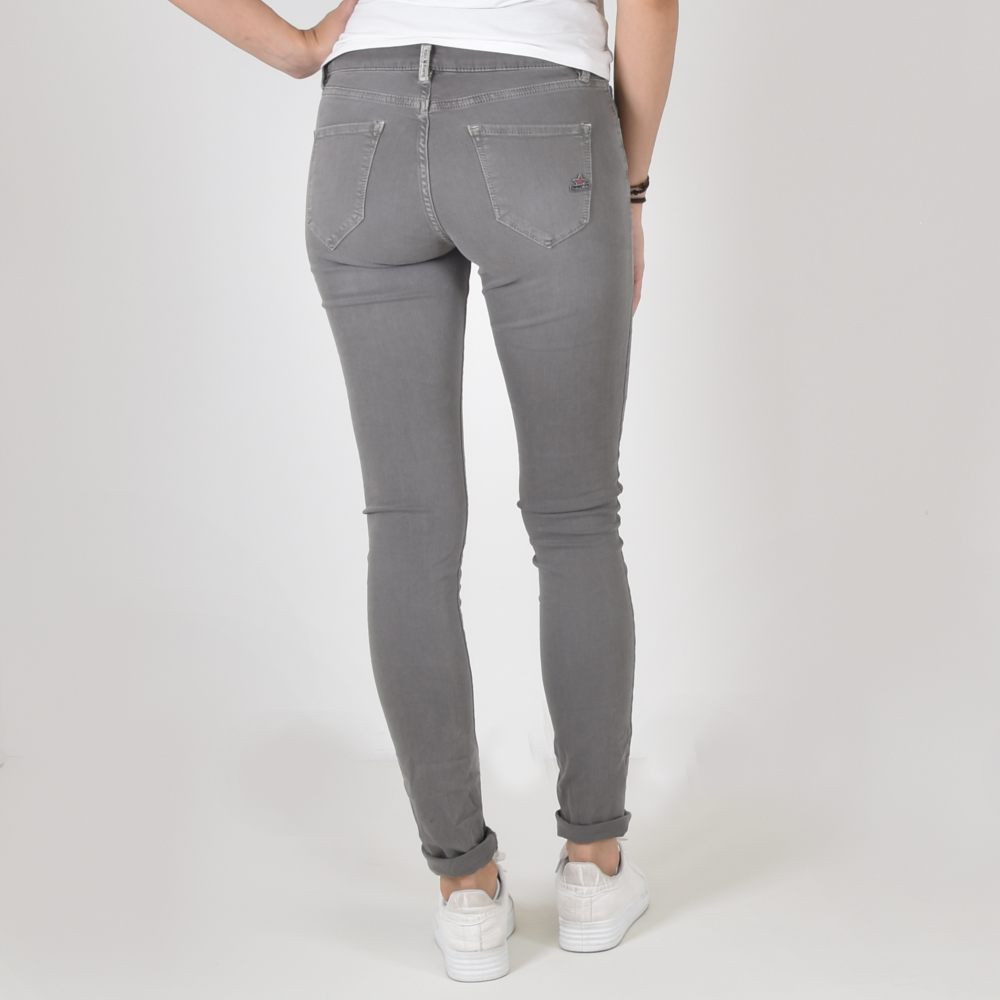 10251 Schmale Damen Hose Treggings Business Nadelstreifen Damenhose Pants Gürtel
